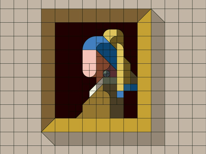 """GRID WIP  """"Girl with a Pearl Earring"""" flat iconic nemury simple minimal illustration patchworkapp geometry masterpiece vermeer"""