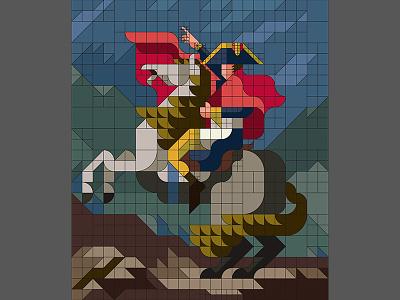 "Grid  ""Napoleon Crossing the Alps"" flat napoleon masterpiece nemury simple alps minimal illustration patchworkapp geometry"