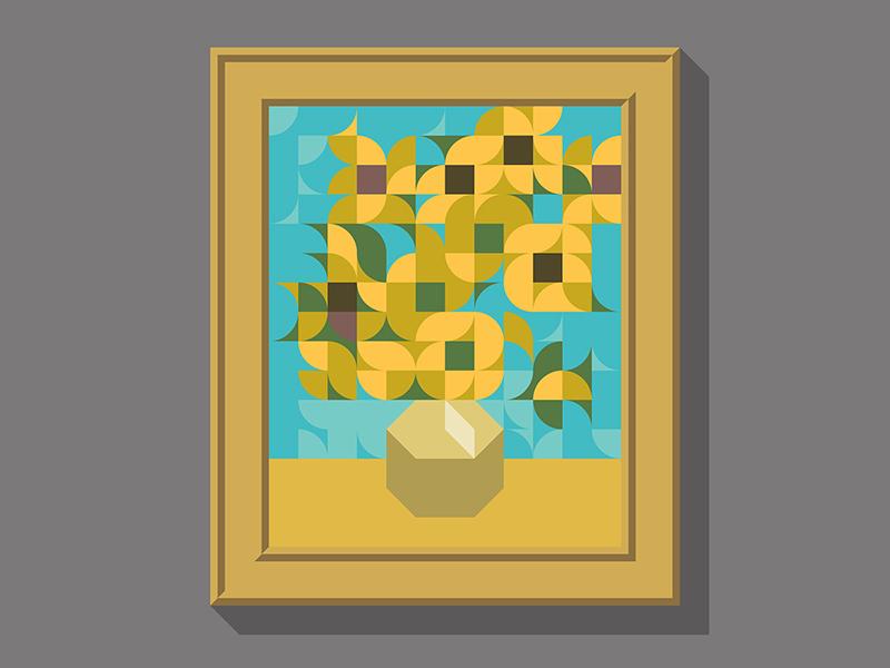 "MASTERPIECE ""Sunflowers"" minimalist nemury minimalart minimalillustration minimaldesign modernart contemporaryart geometricart geometricdesign geometry"