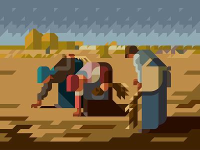 "MASTERPIECE ""The Gleaners"" masterpiece museum historical minimalart minimalillustration minimaldesign geometricart geometricdesign reconstruction composition"