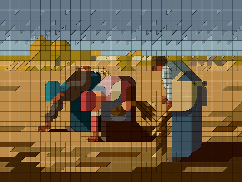 "WIP  ""The Gleaners"" modernart gleaners minimalism nemury oilcolor millet minimal illustration patchworkapp geometry"