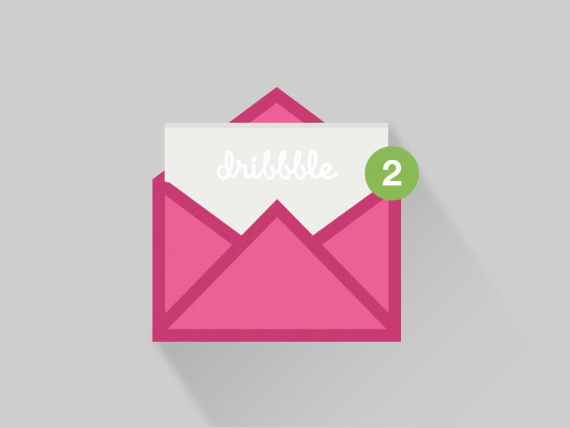 dribbble invitation dribbble invitation envelope letter counter badge longshadow