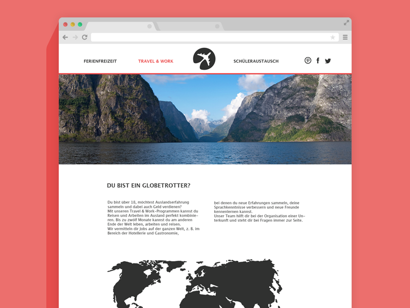 travel & work travel website web design clean simple