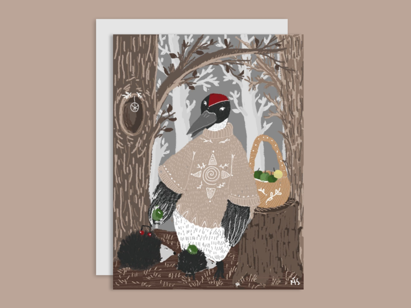 Woodpecker magic forest woodpecker digital digitalart bookillustration photoshop illustration design art