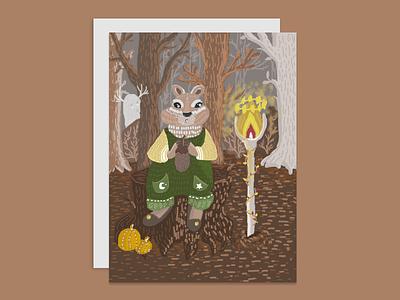 Сhipmunk postcard chipmunk magic forest digitalart photoshop illustration digital design bookillustration art