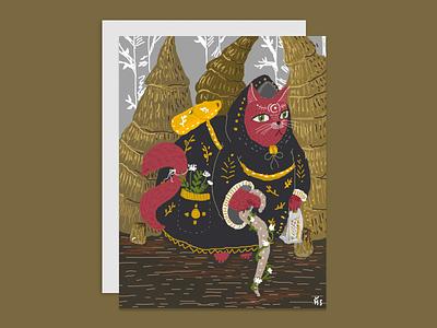 Druid cat druid cat postcard magic forest digitalart photoshop illustration digital design bookillustration art