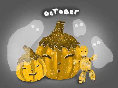 Pumpkin helloween gost pumpkin autumn october postcard digitalart photoshop illustration digital design bookillustration art