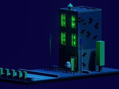 Ghost's house blender 3d art 3d helloween autumn digitalart digital illustration art design