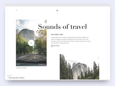 Sounds Of Travel didot typography minimalistic sound clean ux ui interaction design webdesign