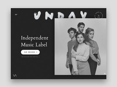 Unday Records Home Exploration dark ui black interface film grain ux ui minimal minimalistic clean hero webdesign