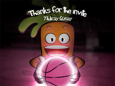 Thanks for invite :) dribbble invite carrot player basketball
