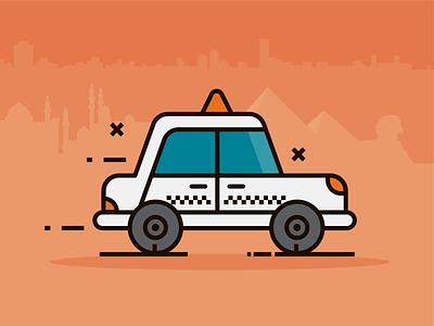 Egyptian Taxi icon design transportation ride hailing skyline egypt taxi illustraion vector