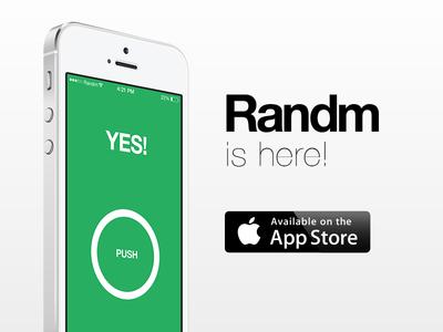 Randm is LIVE in the App store randm ios app minimal random randomize html5 live download app store