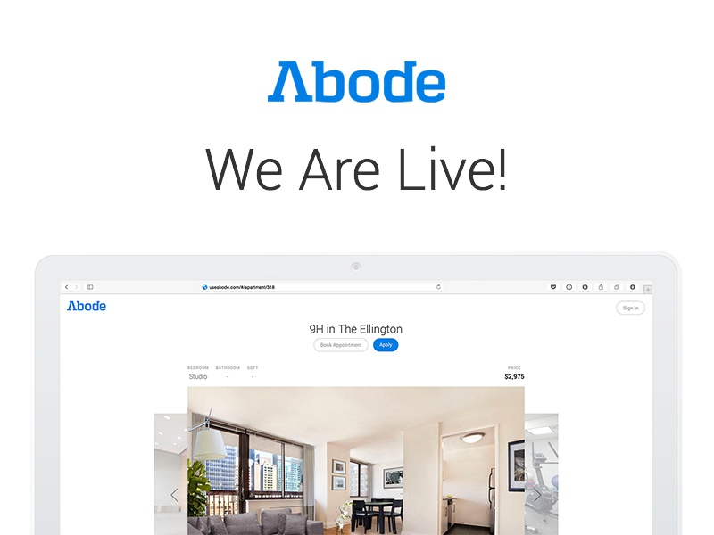 Abode is LIVE! clean white ny new york real estate broker no fee launch live apartment abode