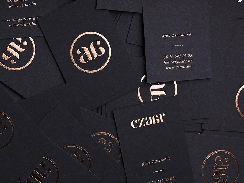 CZAAR Cards clothes fashion brand icon print foil copper card business card czaar