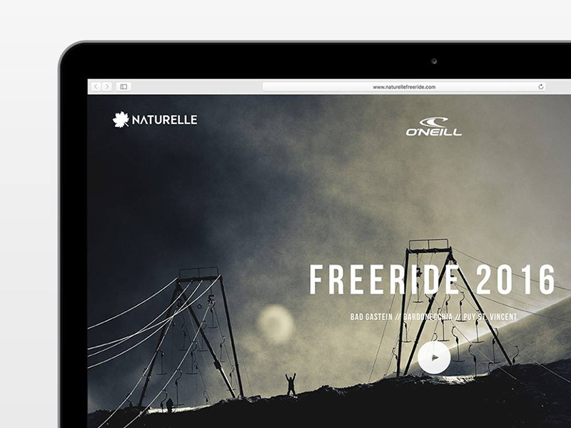 Naturelle Freeride 2016 webdesign ski snowboard squarespace competition snow freeride one page