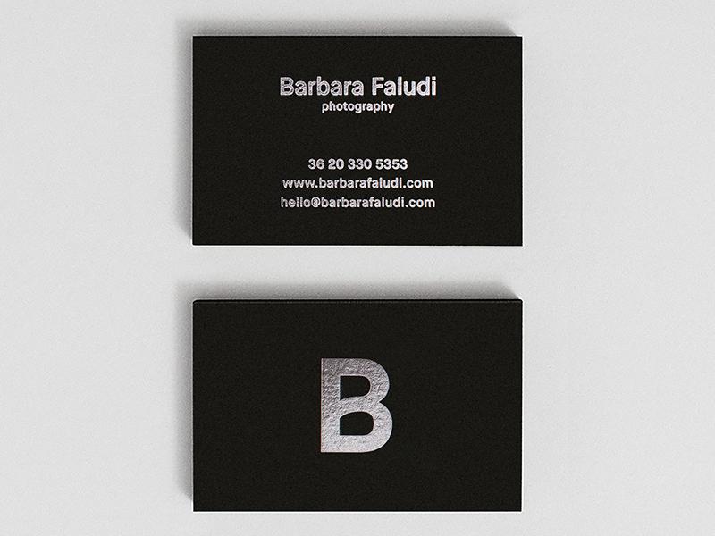Barbara Faludi Photography Card photography branding foil silver white black card business card