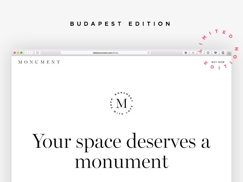 Monument white minimal budapest squarespace commerce picture limited webdesign launch website site monument