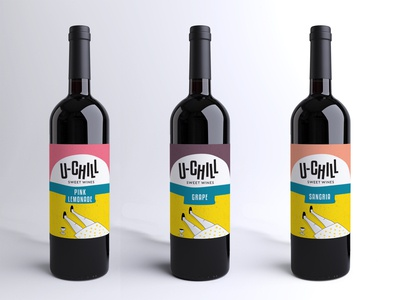Label design and illustration for student's winery U-CHILL