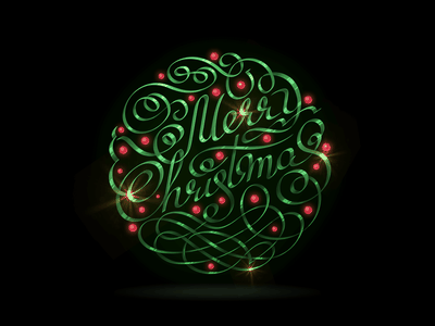 Merry Christmass holidays magic night metalic metal lettering merrychristmas typography vector illustration