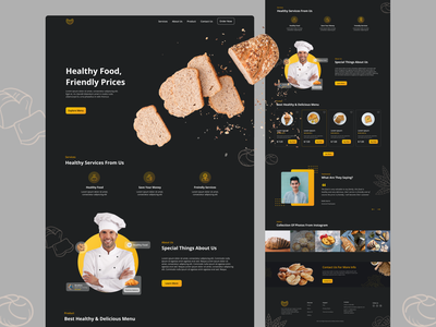 Healthy Food - Landing Page bakery expensive darkmode ui uiux figma figmadesign healty food landing page website