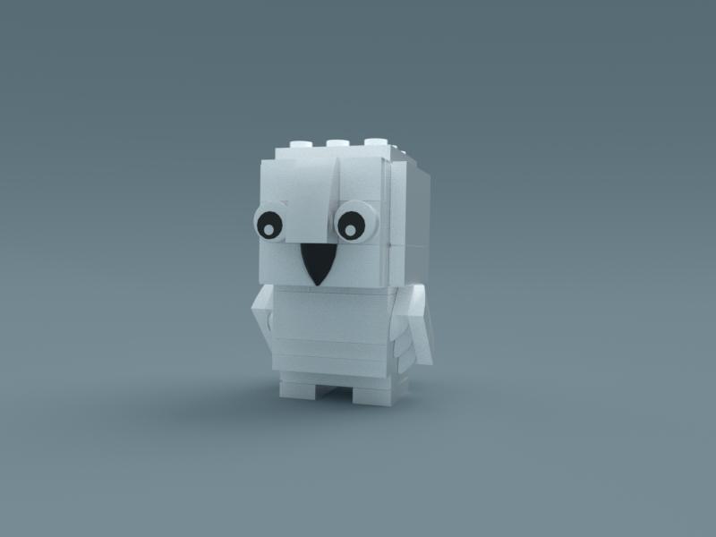 Hedwig - Harry Potter Friend lego 3d 3d modeling illustration b3d isometric cute render poly low blender