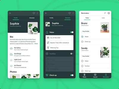 Plant Care Mobile App Concept reminder app mobile app mobile ui plants plant monstera task manager schedule app scheduler tasks profile page material design