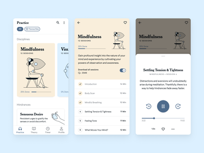 Meditation Mobile App Concept player mindfulness meditation app meditation illustration mobile ui mobile app