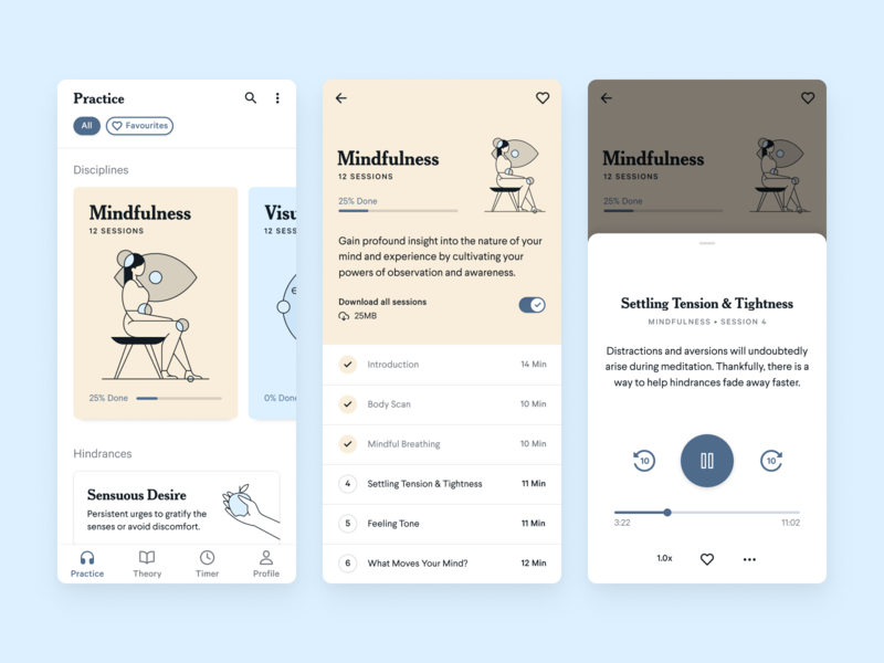 Meditation Mobile App Concept player mindfulness meditation app meditation illustration mobile ui mobile app