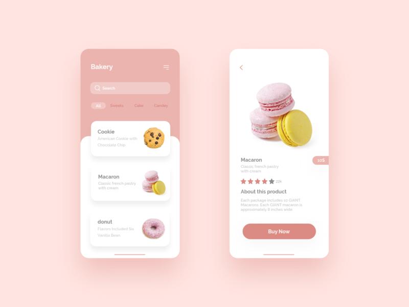 Bakery App UI concept.