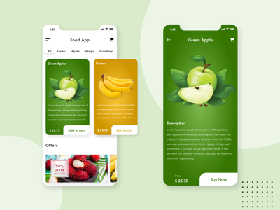 Fruit App app design uiux ui fruits fruit food service foodie