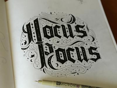 Hocus Pocus handletter halloween lettering blackletter hocus flourish boo