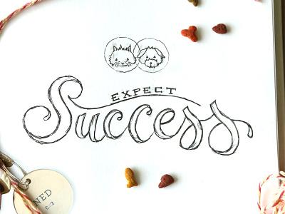 Success success sketch ink handmade calligraphy script dog cat typography lettering handletter