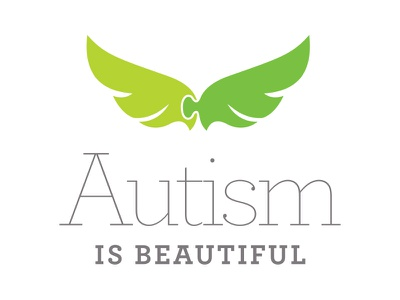 Autism Is Beautiful serif slab typography special logo angel wings wing piece puzzle beautiful autism