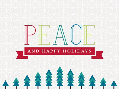 Peace and Happy Holidays card email geometric ribbon tree happy nature outdoor christmas holidays holiday peace