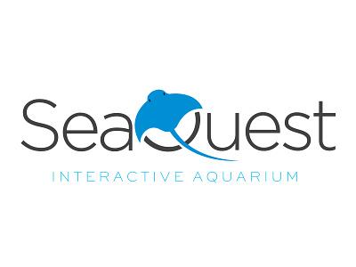 Interactive Aquarium Logo kid ray ocean water design logo aqua aquarium fish sea