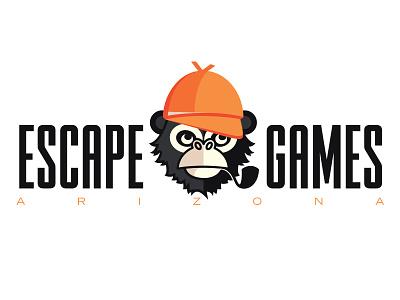 Escape Games AZ illustration business room mystery ape chimp arizona games escape sherlock monkey logo