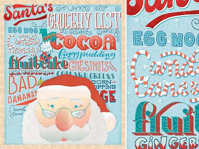 Santa's Grocery List texture calligraphy vintage holiday christmas santa font typography type illustrator illustration