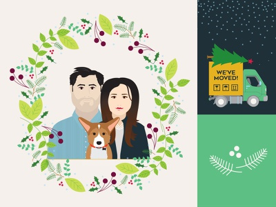 Commissioned Christmas Card design holiday family icon style portrait simple card christmas illustrator illustration