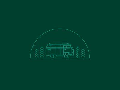 VW Camper design wilderness simple outline stroke adventure outdoor camp volkswagon car illustration logo