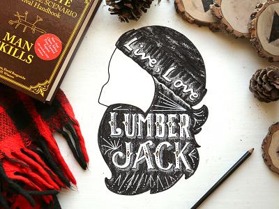 Live Love Lumberjack homwork sketchbook ink man lumberjack illustration stippling lettering handlettering