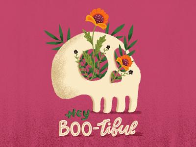 Hey Bootiful flower skull type lettering procreate design halloween handletter handlettering illustration typography