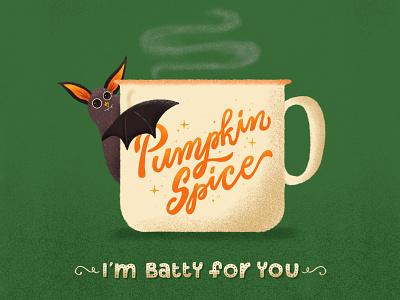 I'm Batty for You design font procreate pumpkin bat halloween handletter letter type illustration lettering typography