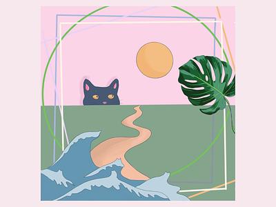 Curious Cat cat kids illustration design illustration art illustration procreate ipad pro