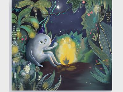 The warmth of the fire at night soul kids illustration magic design illustration procreate ipad pro