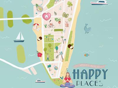 Happy Places on Miami Beach Map art ipad pro illustration art artwork procreate design florida miami maps map illustration
