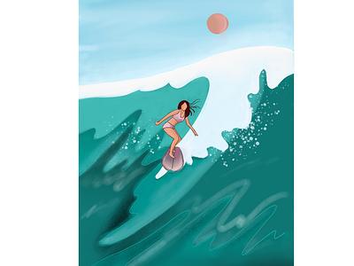 Surfing digital art art artwork ipad pro beach ocean life fantasy procreate bali design ocean surf illustration