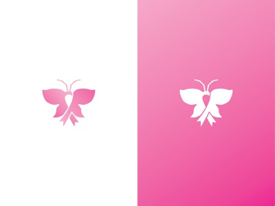 Breast Cancer Logo logoforsale logoground unused logo premade logo ready made logo ribbon cancer butterfly pink illustration branding logo design symbol woman charity awareness health medical butterfly logo