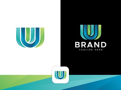 Letter UUU Logo unused logo premade logo ready made logo green blue app colourful logoforsale u logo lettermark typography symbol morden logotype logodesign icon logo illustration design branding