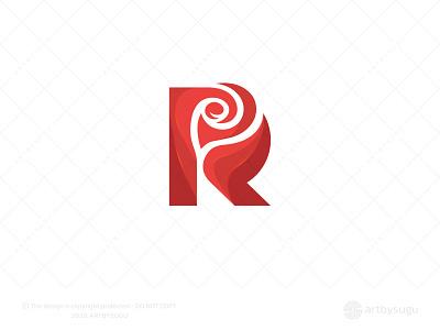 Letter R + Rose Logo ready made logo logoground rose logo rose letter r lettermark unused logo premade logo sale logoforsale symbol morden logotype logodesign icon vector logo illustration design branding
